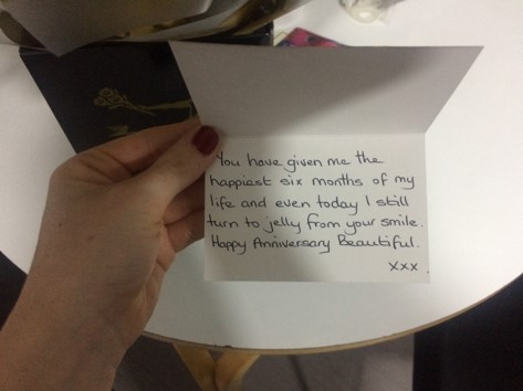 6 month anniversary, roses, blogger, love note